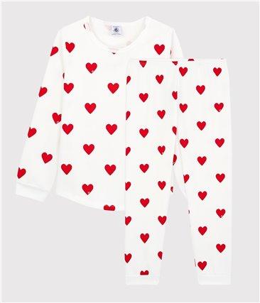 Piżama w serca dla dziewczynki z moltonu z bawełny ekologicznej