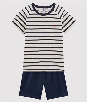 Krótka piżama marynarska dla chłopca z bawełny ekologicznej