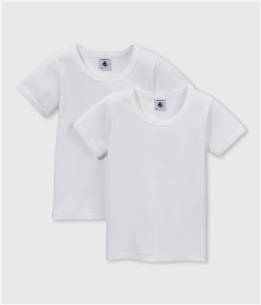 Zestaw 2 białych dziewczęcych podkoszulek z krótkim rękawem z bawełny ekologicznej
