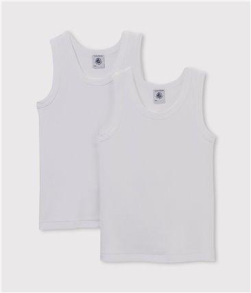 Zestaw 2 białych podkoszulek chłopięcych bez rękawów z bawełny ekologicznej