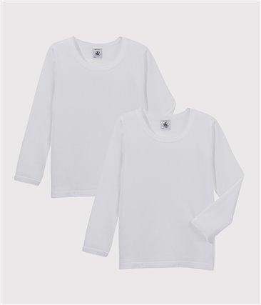 Zestaw 2 białych dziewczęcych podkoszulek z długim rękawem z bawełny ekologicznej