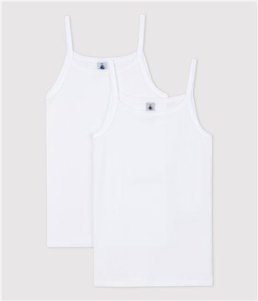 Zestaw 2 białych podkoszulek dziewczęcych na ramiączka z bawełny ekologicznej