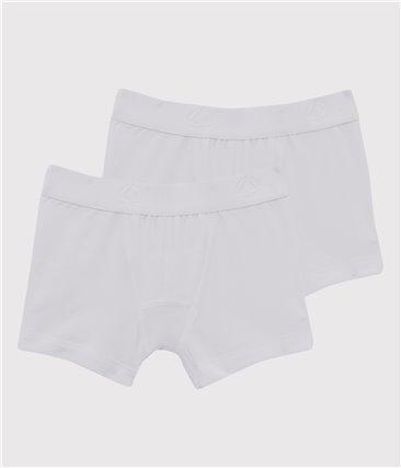 Zestaw 2 par białych bokserek chłopięcych z bawełny ekologicznej