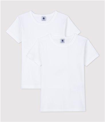 Zestaw 2 białych chłopięcych podkoszulek z krótkim rękawem z bawełny ekologicznej