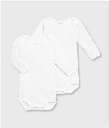 Zestaw 2 białych body z długim rękawem z bawełny ekologicznej