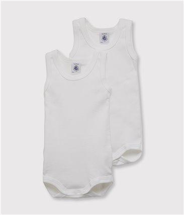 Zestaw 2 białych body bez rękawów z bawełny ekologicznej