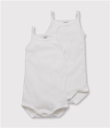Zestaw 2 białych body na ramiączka z bawełny ekologicznej