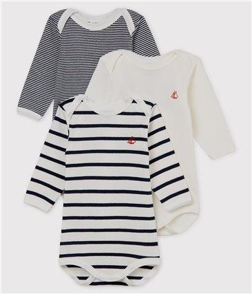 Zestaw 3 body z długim rękawem w paski dla niemowlaka z bawełny ekologicznej