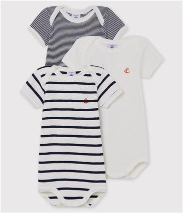 Zestaw 3 body z krótkim rękawem w paski dla niemowlaka z bawełny ekologicznej
